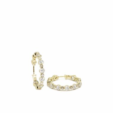 Nina Nguyen Designs Petite 15mm Lace Pave Gold Hoops