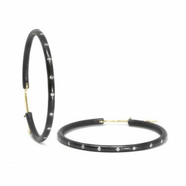 Nina Nguyen Designs Large 35mm Gold & Oxidized Hoops