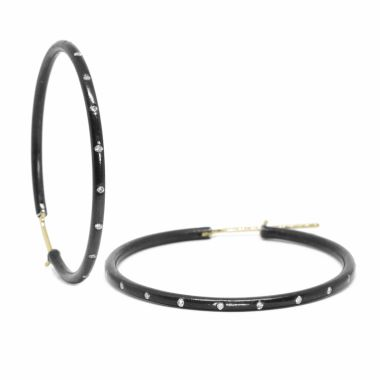 Nina Nguyen Designs X-Large 40mm Gold & Oxidized Hoops